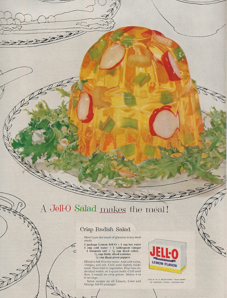 Advertisement for Jell-O Salad, picturing a dome of lemon Jell-O with radishes, green peppers and celery within.