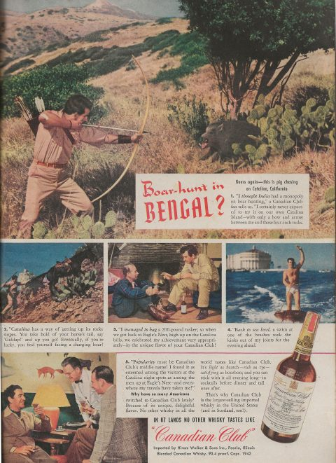 Ad for Canadian Club Whiskey with Pig Hunt on Catalina Island