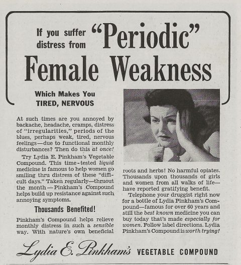 Lydia Pinkham's Herbal Vegetable Compound ad 1942