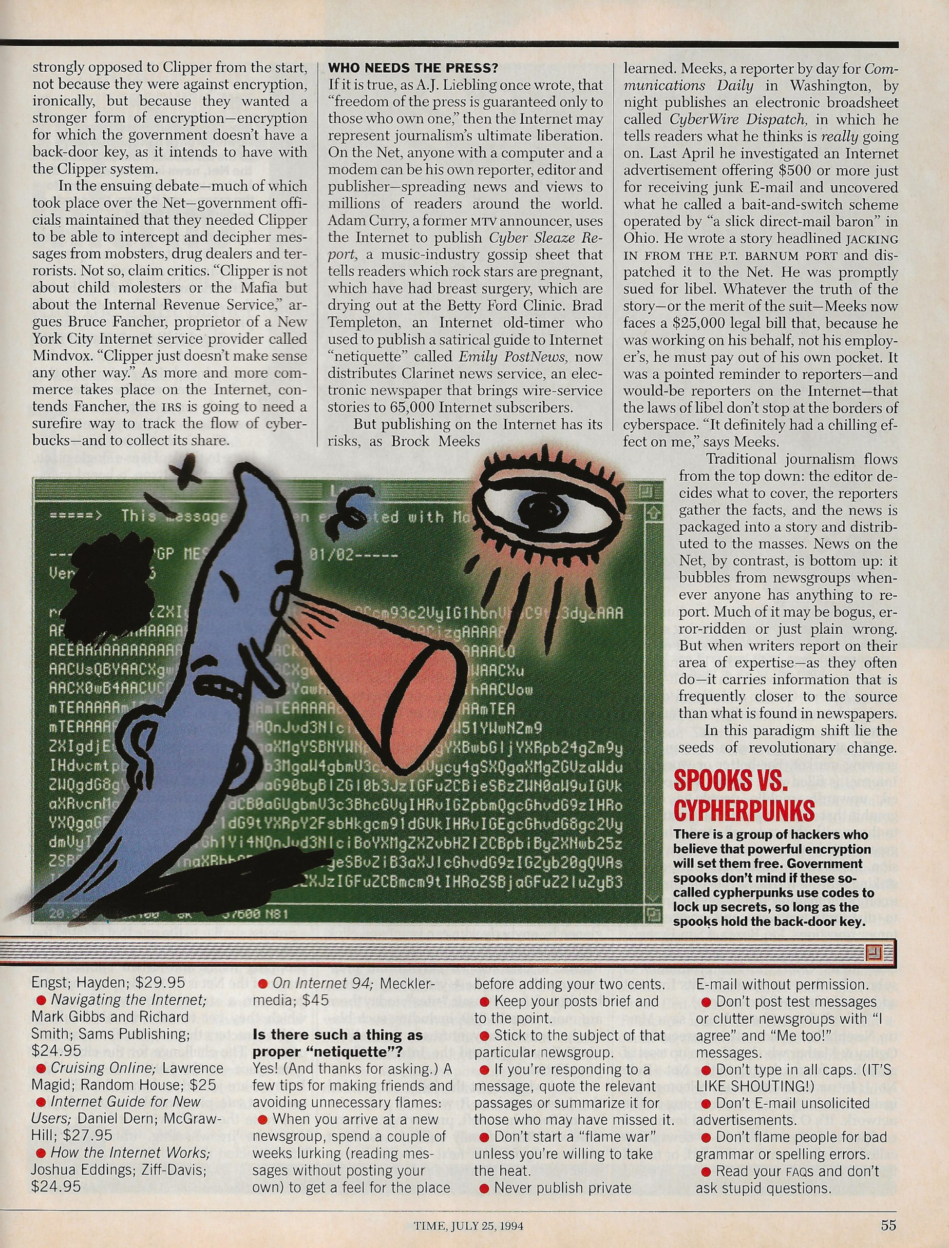 Page 6 of Time article on the battle for the soul of the internet