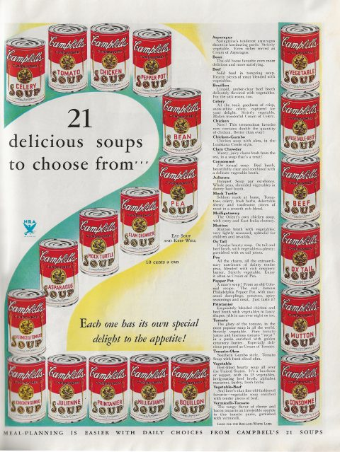 Ad for 21 flavors of Campbell's Soup from 1933